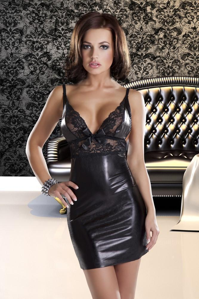 Avanua Dress UK 8-12 / Black Donna Wet Look Mini Dress