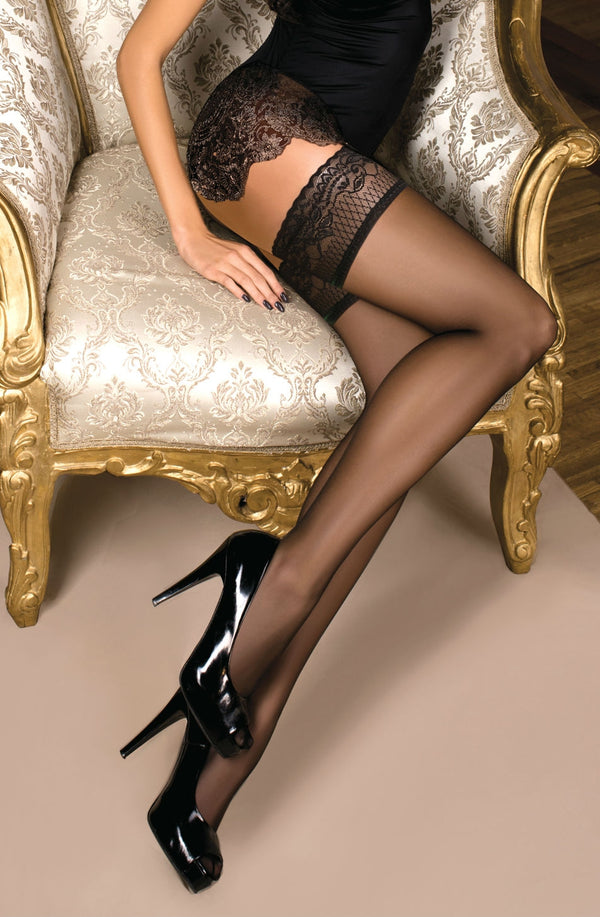 Ballerina 102 Black Lace Top Hold Ups