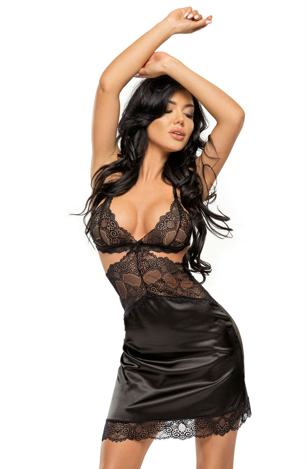 Beauty Night Adelaide Black Satin And Lace Chemise