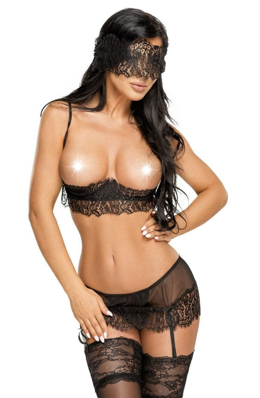 Serenity Erotic Black Bra Set
