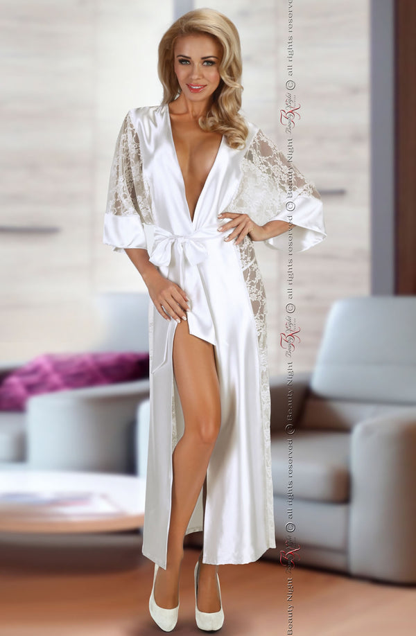 Beauty Night Bouquet White Satin And Lace Dressing Gown