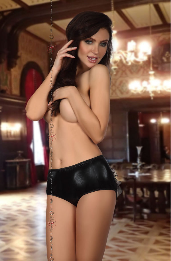Beauty Night Doris Black Wet Look Open Back Brief