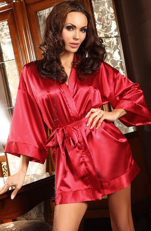 beauty night Dressing Gown One Size UK 8-14 / Red Maggie Red Satin Robe