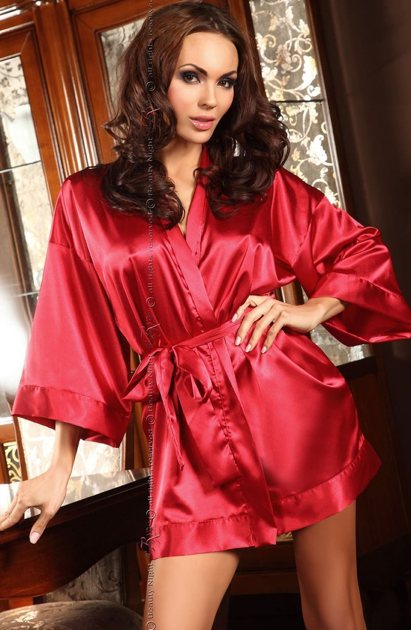 beauty night Dressing Gown Maggie Red Satin Robe