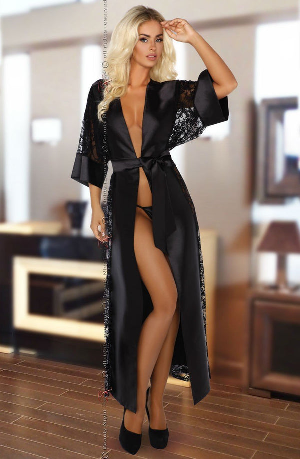 beauty night Dressing Gown UK 8-12 / Black Beauty Night Bouquet Black Dressing Gown