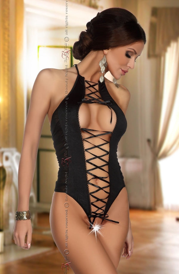 Beauty Night Giselse Black Lace Up Crotchless Teddy