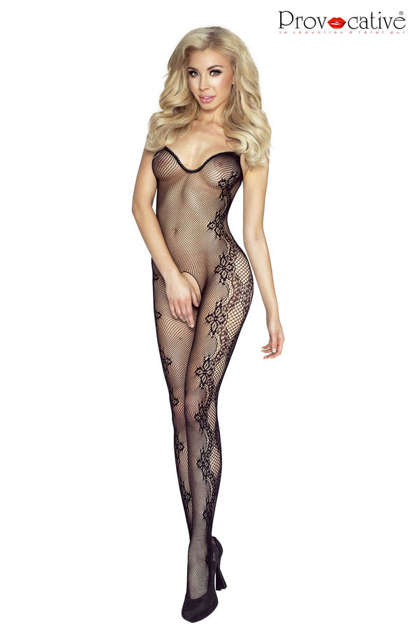 Black Crotchless Floral Bodystocking - Provocative Style PR4916
