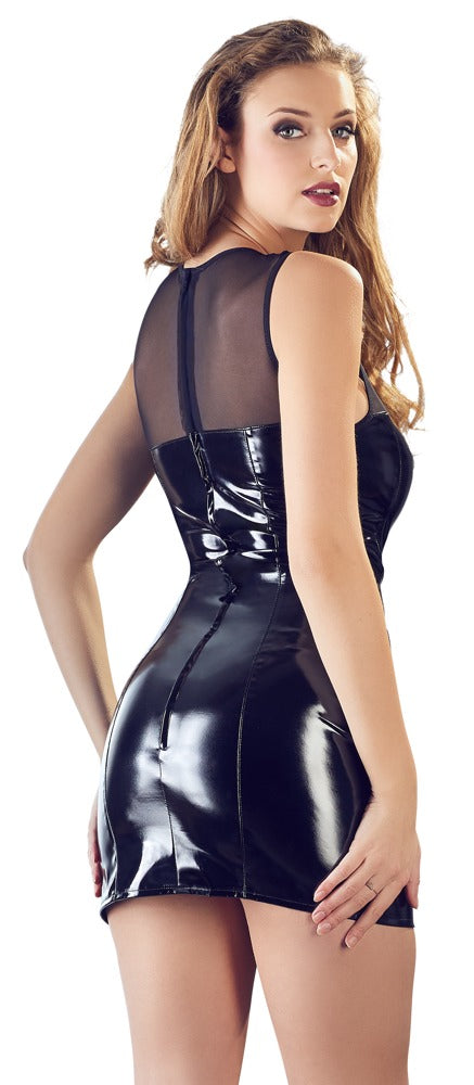 black level black pvc mini dress with net lace top back
