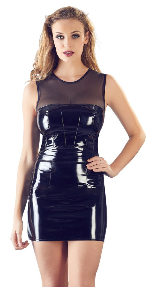 black level black pvc mini dress with net lace top
