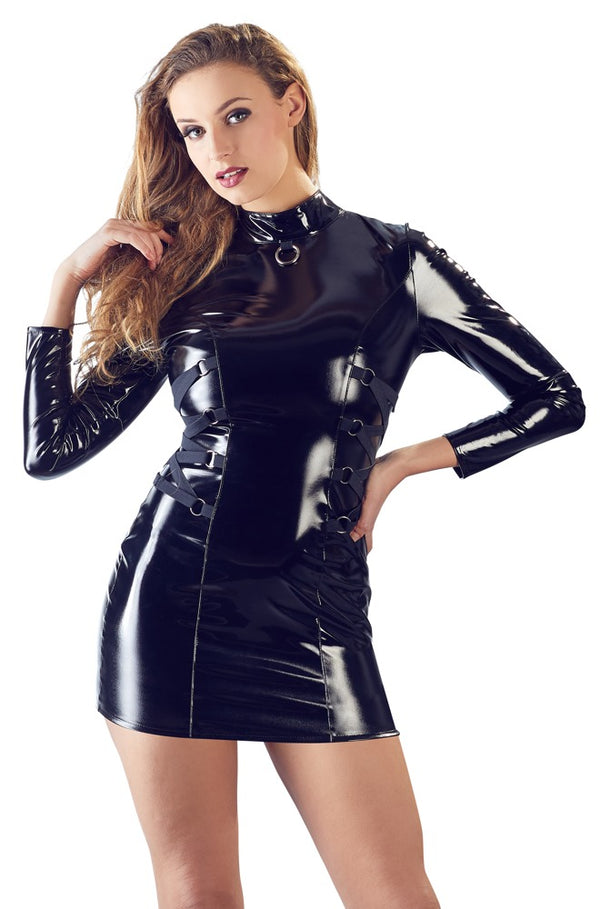 black level long sleveed black pvc mini dress