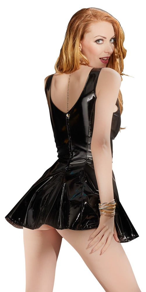 black level pvc mini dress back