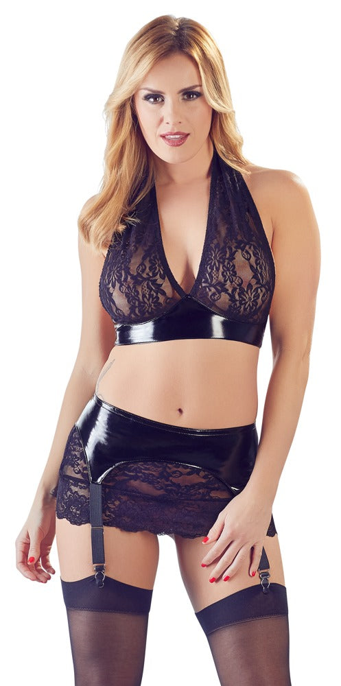 black level vinyl and lace black lingerie set