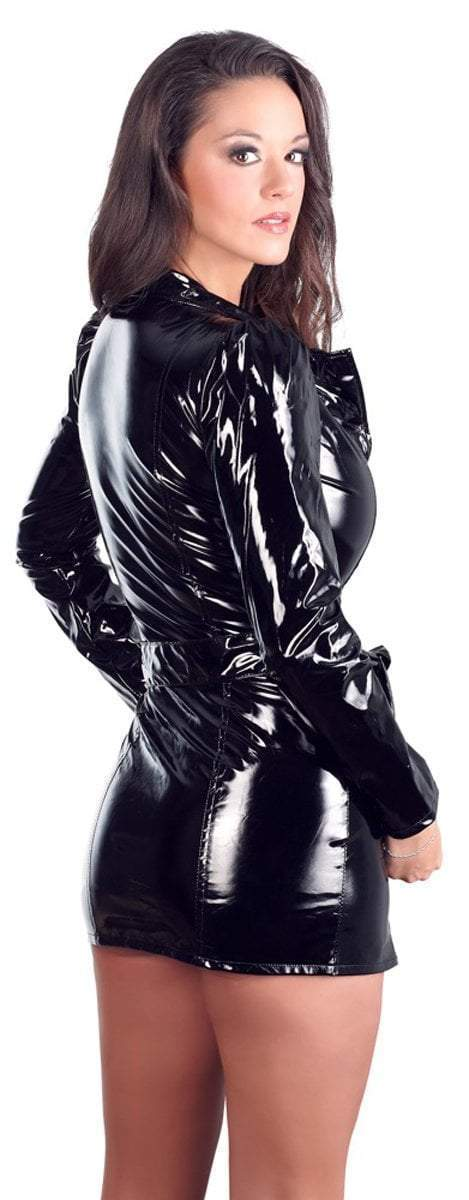 Black Level Womens PVC Clothing Black Vinyl Dress/Coat
