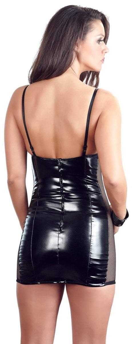 Black Level Womens PVC Clothing Black Vinyl Mini Dress With Net Inserts