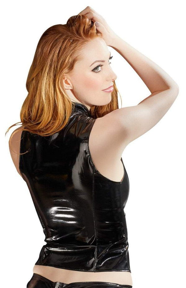 Black Level Womens PVC Clothing Black Vinyl Top With Zip
