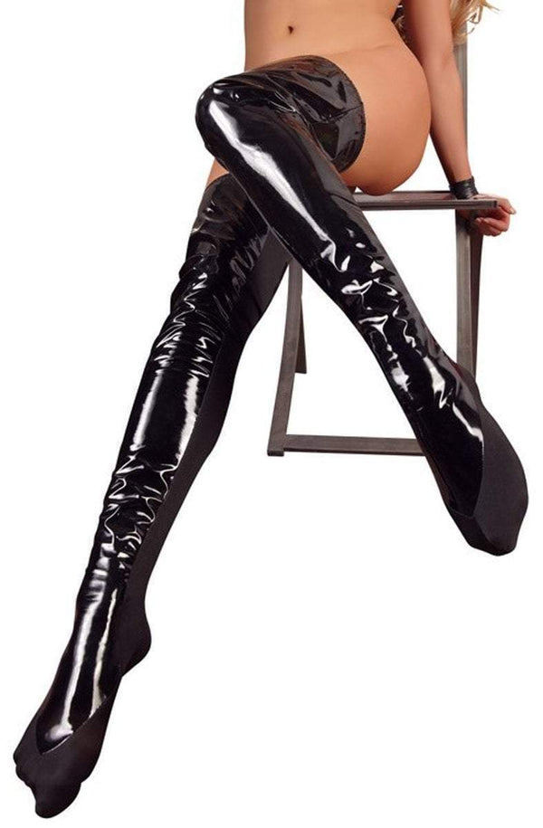 Black Level Womens PVC Clothing S/M / Black Black Vinyl Bed Boots