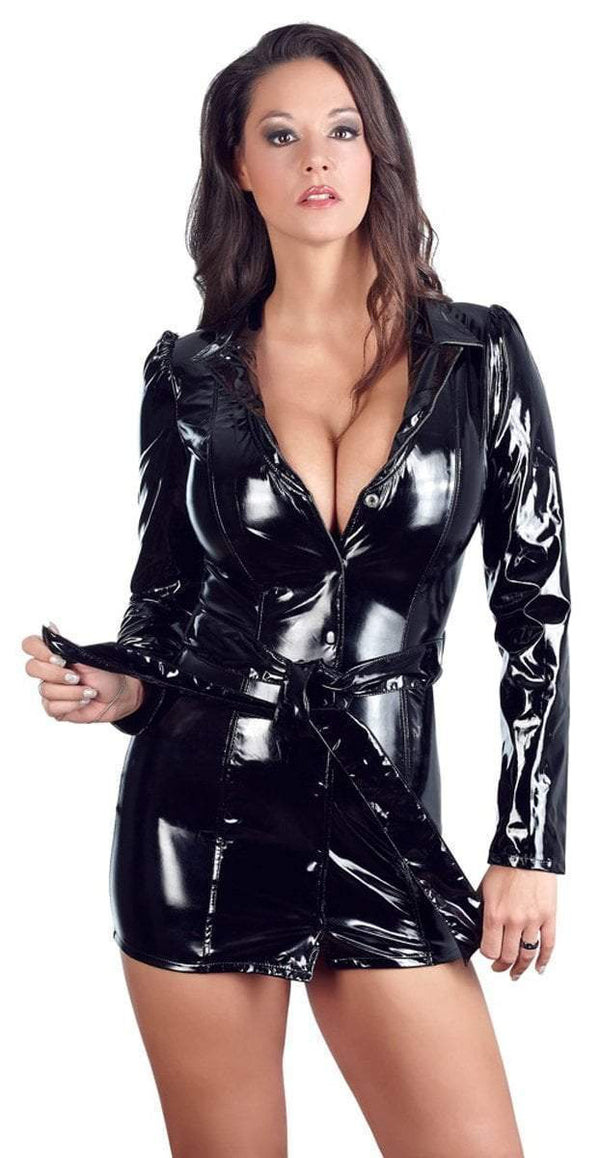 Black Level Womens PVC Clothing Small / Black Black Vinyl Dress/Coat