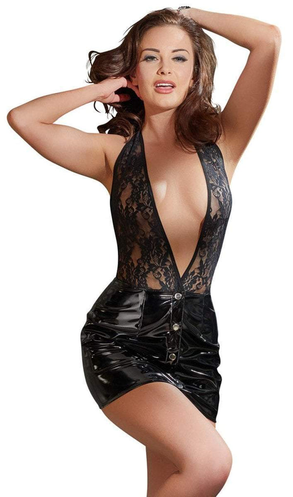 Black Level Womens PVC Clothing Small / Black Black Vinyl Lace Top Dress