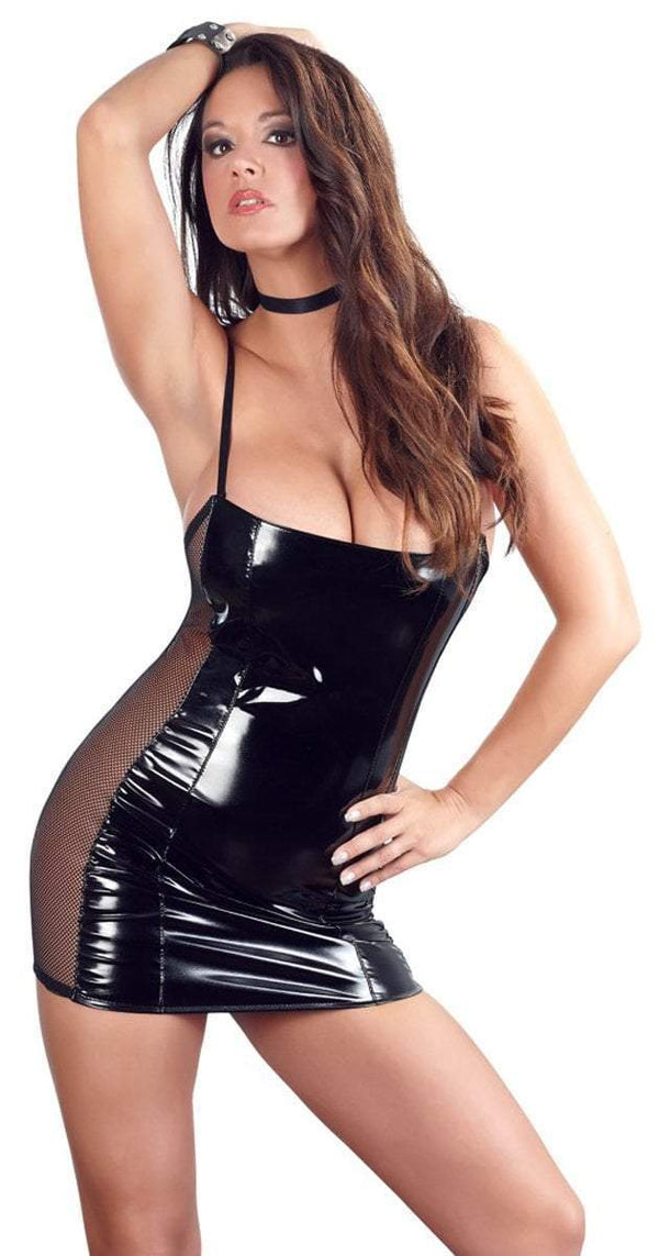 Black Level Womens PVC Clothing Small / Black Black Vinyl Mini Dress With Net Inserts