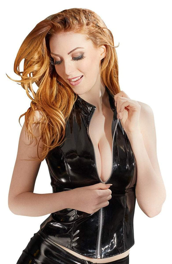 Black Level Womens PVC Clothing Small / Black Black Vinyl Top With Zip