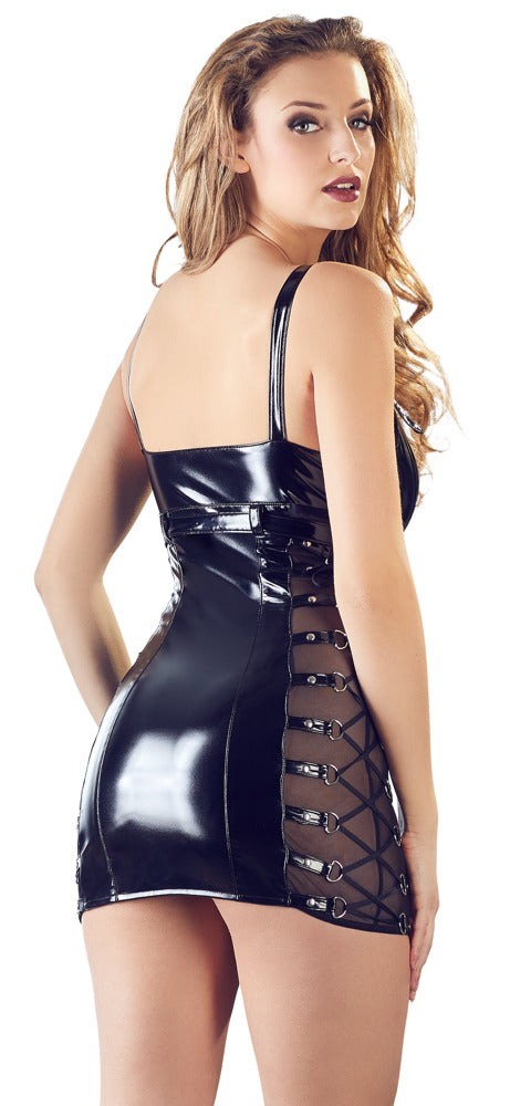 Black PVC Mini Dress With Buckle Straps