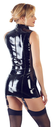 black pvc suspender mini dress back