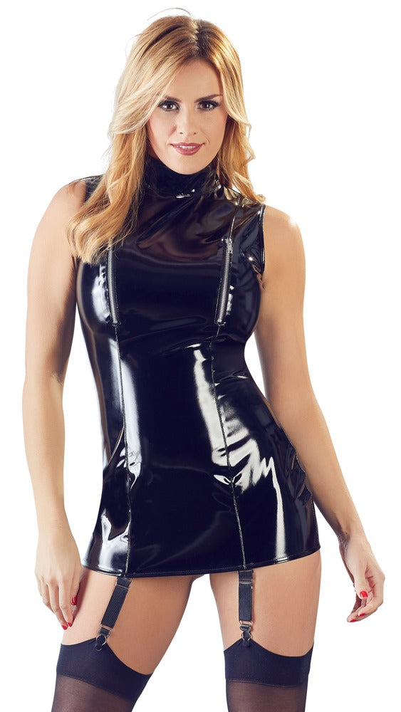 black pvc suspender mini dress
