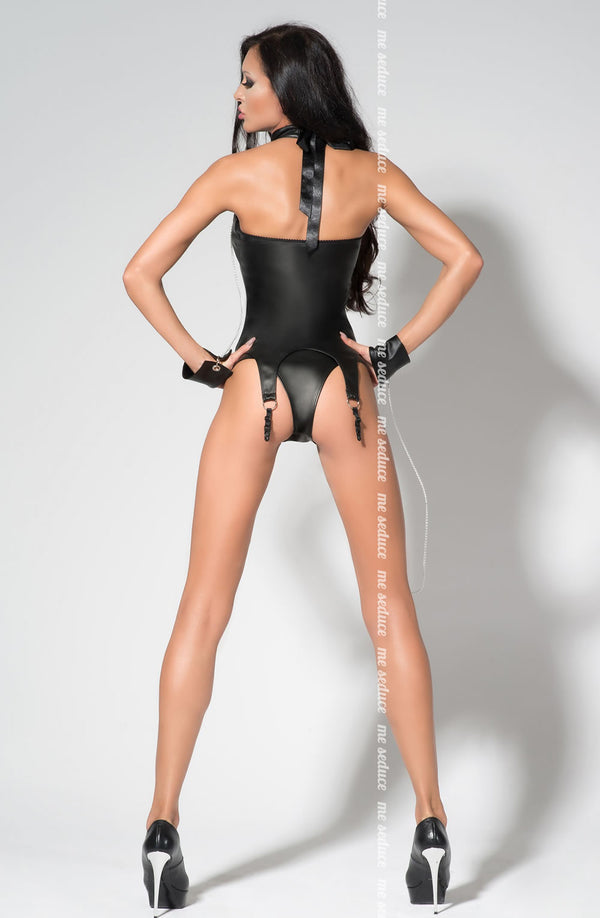 Black Wet Look Corset With Restraints Back - Me Seduce Catty