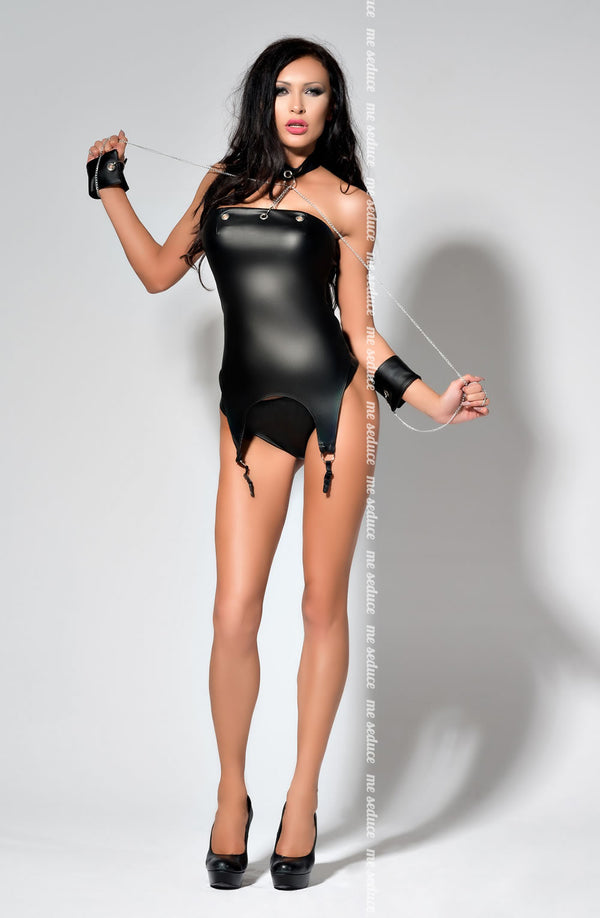 Black Wet Look Corset With Restraints - Me Seduce Catty