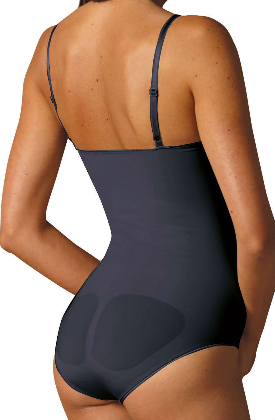 control body body lingerie Black Control Bodysuit with Fine Straps & Screen Print Lace - Firm Support