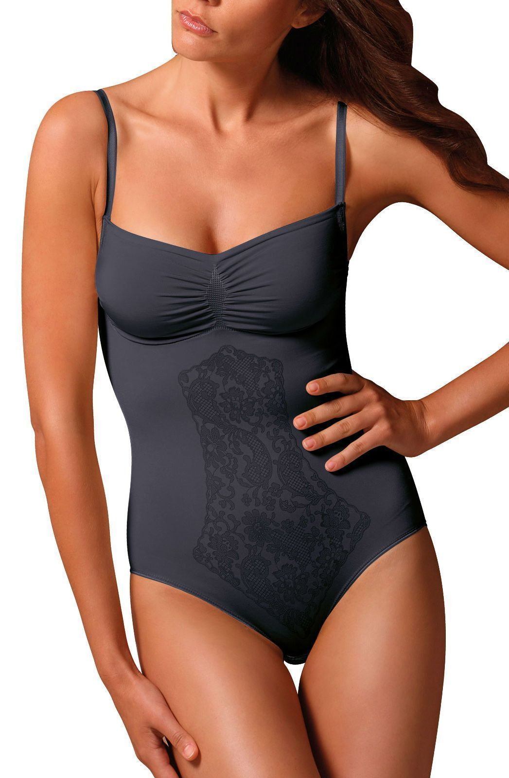control body body lingerie UK 10-12 / Black Black Control Bodysuit with Fine Straps & Screen Print Lace - Firm Support