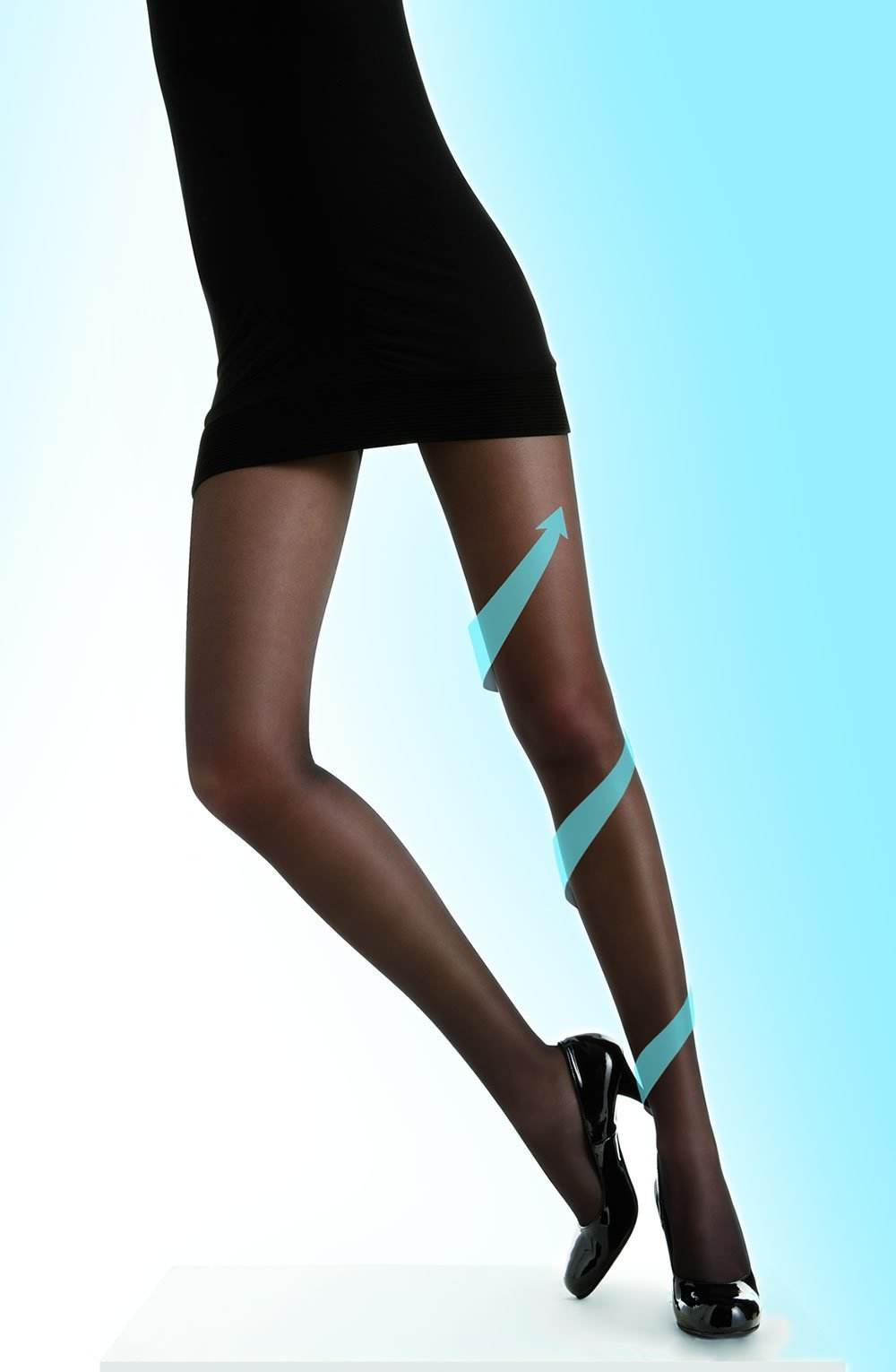 control body Tights 1/2 (XS/S) / Black Control Body 70 Denier Sheer Black Compression Tights