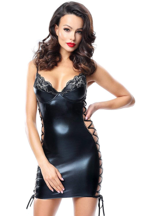 demoniq Demoniq Chemise UK 8 / Black Aline Wet Look Mini Dress