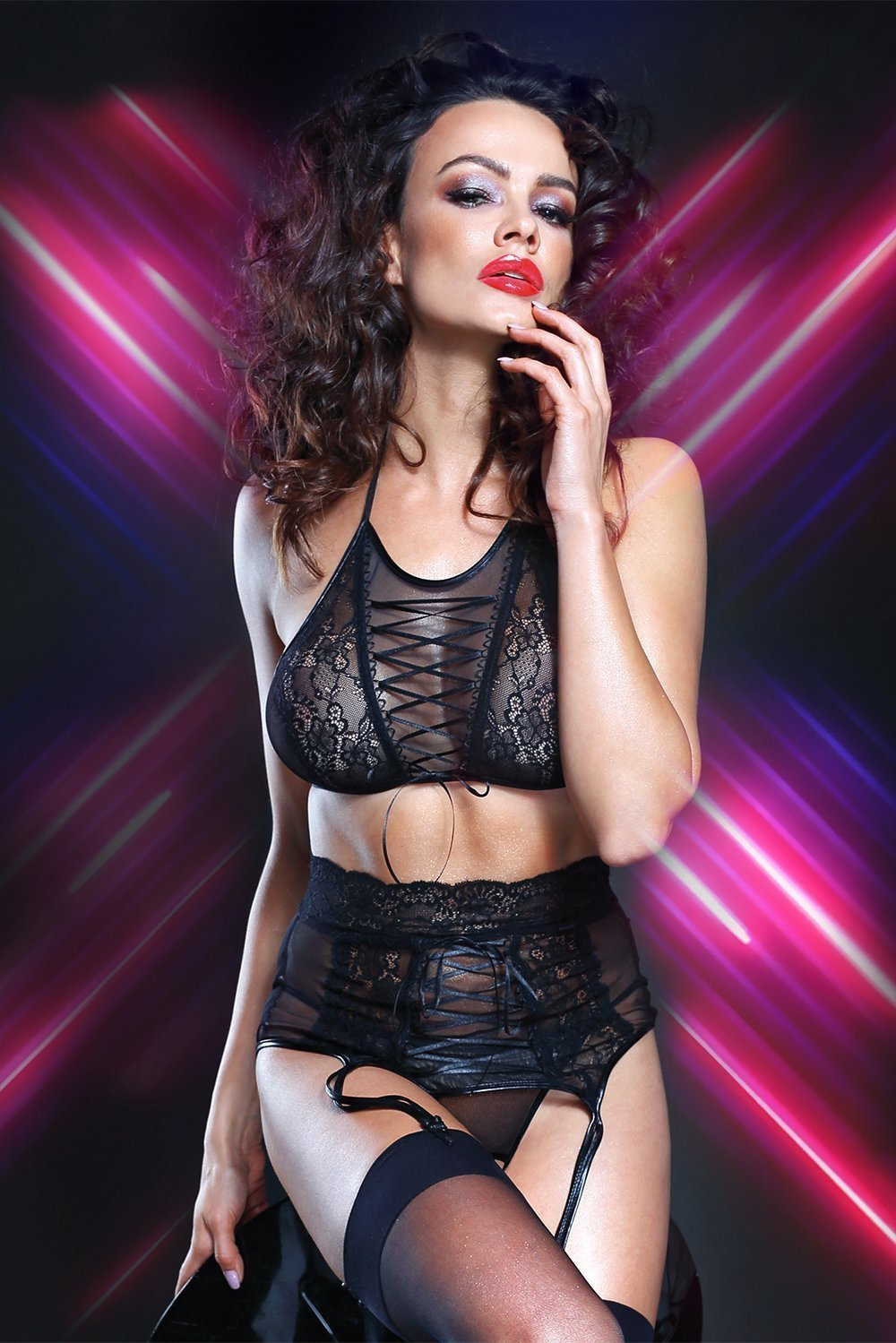 demoniq Demoniq Lingerie Set UK 8 / Black Vanda Lingerie Set