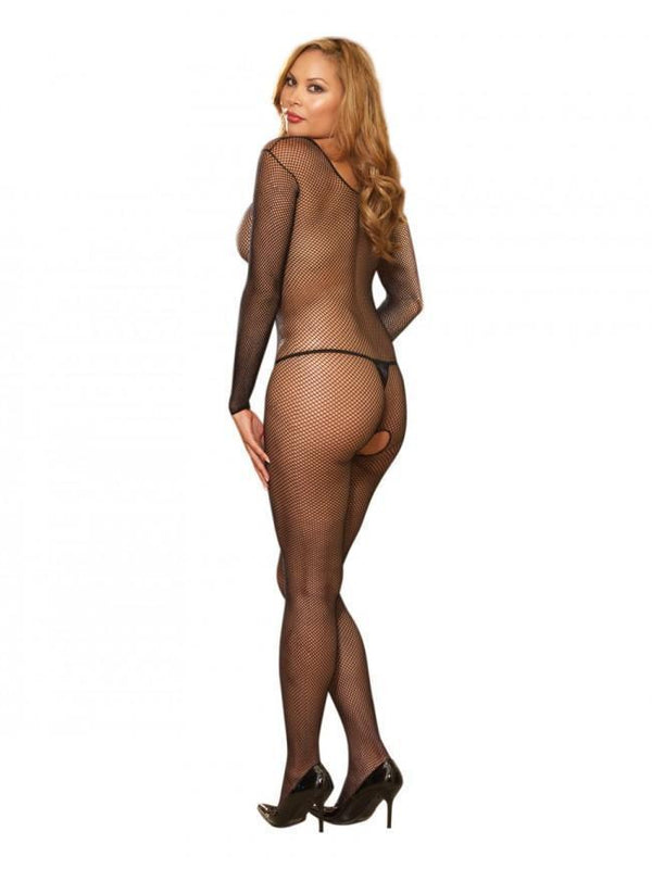 Dreamgirl Bodystocking Dreamgirl Black Fishnet Crotchless Plus Size Bodystocking