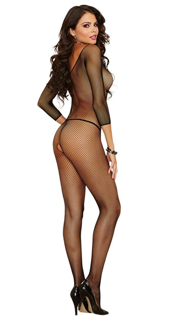 Dreamgirl Bodystocking Dreamgirl Black Fishnet Open Crotch Bodystocking