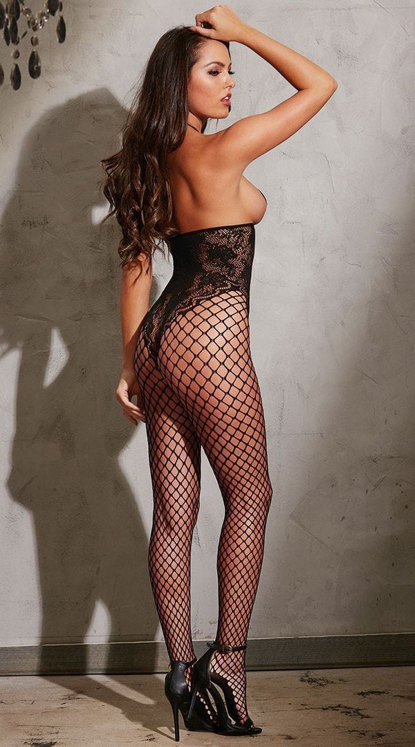 Dreamgirl Fishnet Style Black Bodystocking - Divas Closet