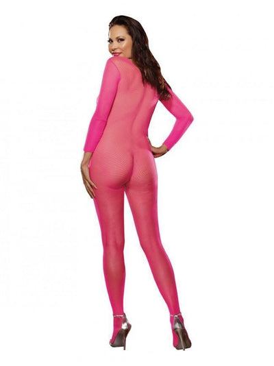 Dreamgirl Bodystocking Dreamgirl Hot Pink Fishnet Crotchless Bodystocking Plus Size