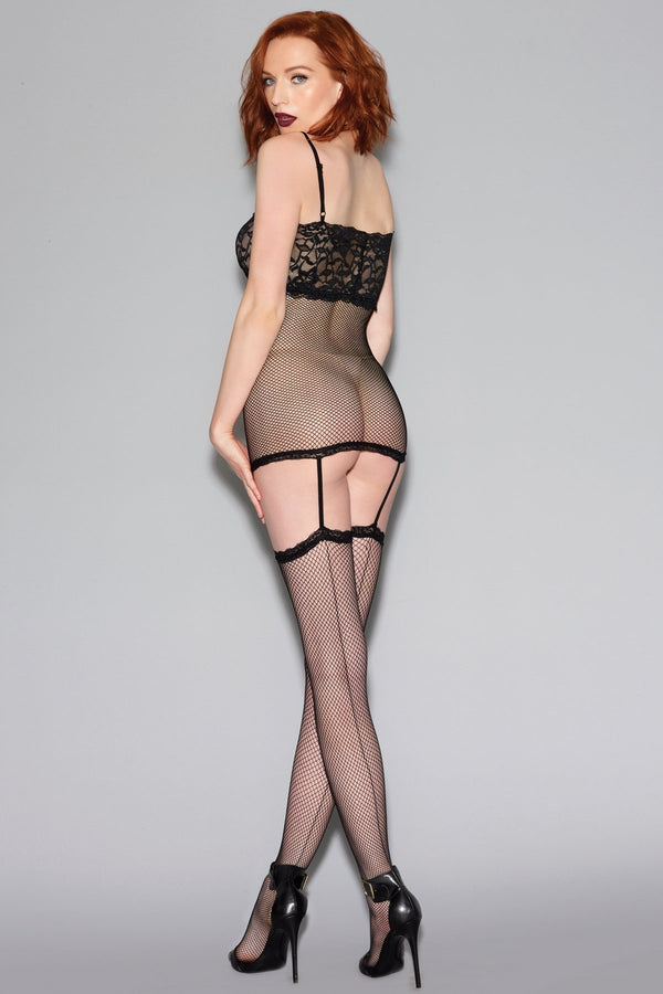 Dreamgirl Bodystocking Fishnet Bodystocking With Contrast Lace Cups