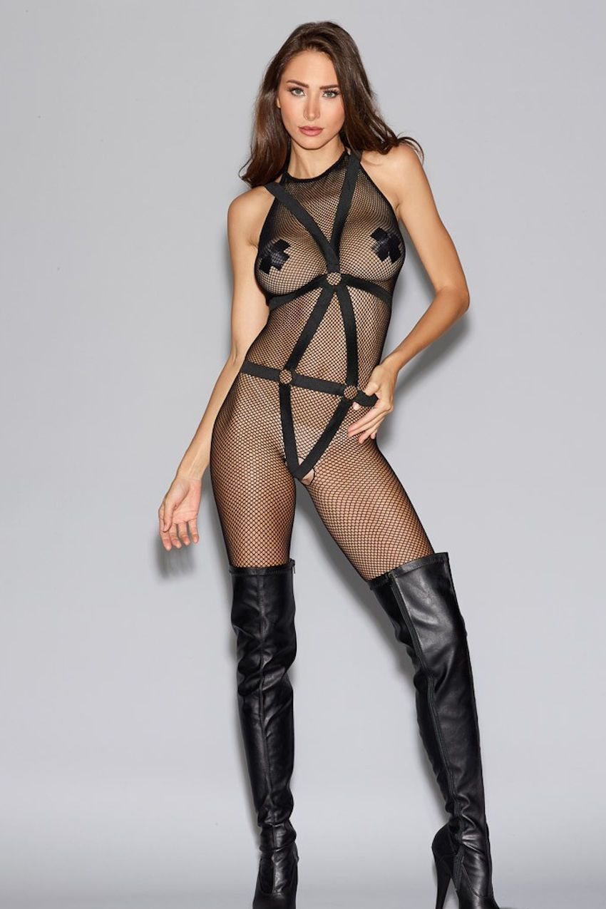 Dreamgirl Bodystocking One Size UK 8-16 / Black Fishnet Bodystocking With Detachable Teddy Harness