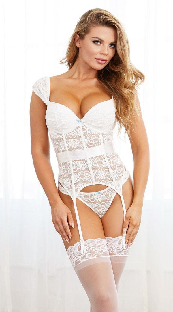Dreamgirl White Bustier and Thong 10520 - Divas Closet