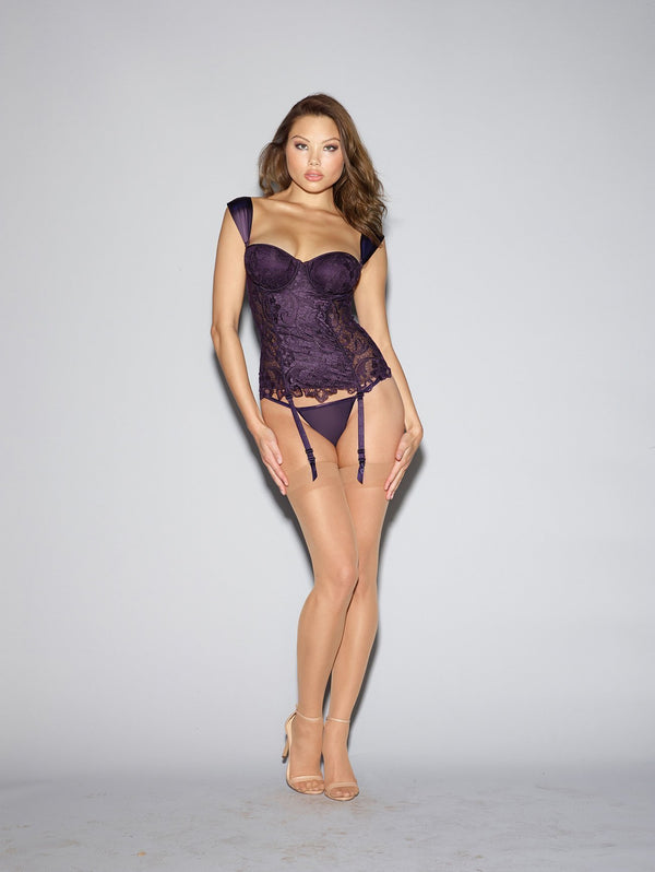 Dreamgirl Bustier UK 6-8 / Purple Deep Purple Venice Lace Bustier