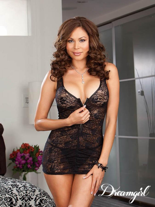 Dreamgirl Chemise One Size UK 16-20 / Black Dreamgirl  Black Zip Front Chemise and Thong
