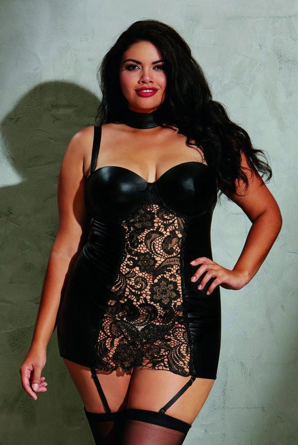 Dreamgirl Black Wetlook Garterslip Plus Size - Divas Closet