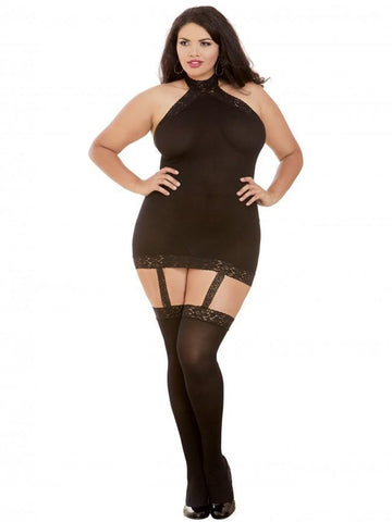 Dreamgirl Dreamgirl Bodystocking Dreamgirl Sheer Halter Bodystocking Plus Size Black