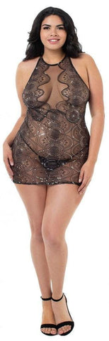 Dreamgirl Dreamgirl Chemise Sheer Sequin Chemise Plus Size
