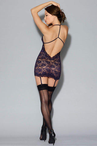 Dreamgirl Dreamgirl Chemise Stretch Lace Chemise With Harness Detail