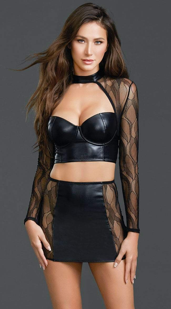 Dreamgirl dreamgirl dress UK 6-8 / Black Faux Leather and Lace Crop Top with High Waist Skirt Set
