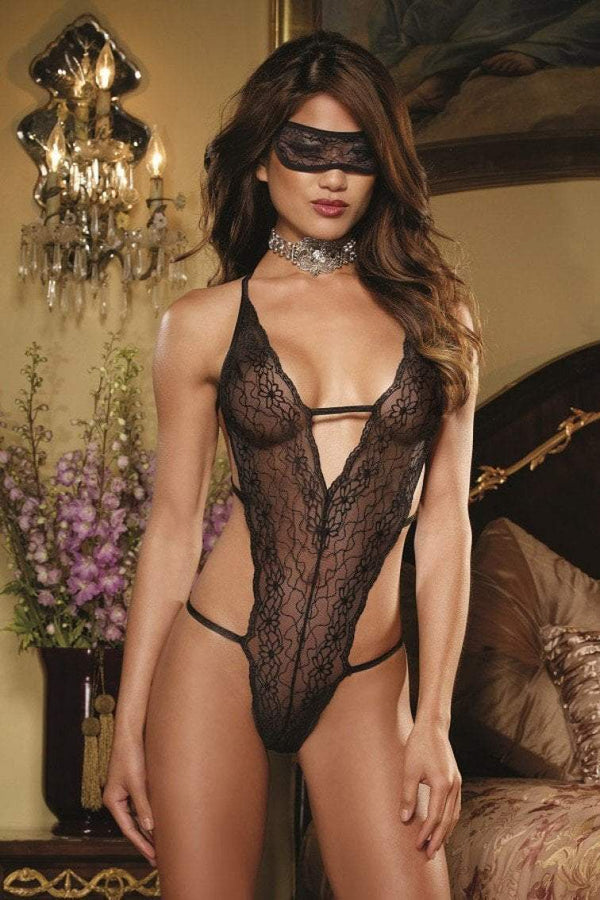 Dreamgirl Dreamgirl Teddy Sheer Black Teddy & Eye Mask