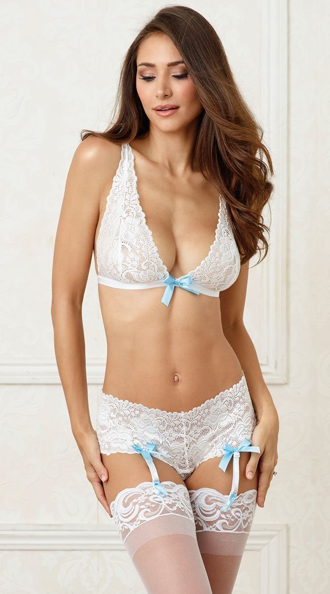 Dreamgirl Lingerie Set One Size UK 8-18 / White White Lace Bridal Bralette And Panty Set